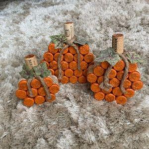 Cork Pumpkins set of 3 HOMEMADE